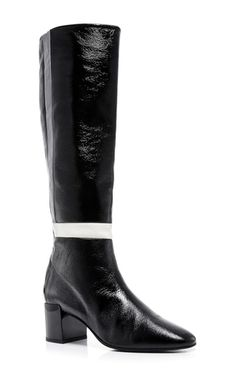 Black And White Patent Leather Tetrix Riding Boots by PIERRE HARDY Now Available on Moda Operandi