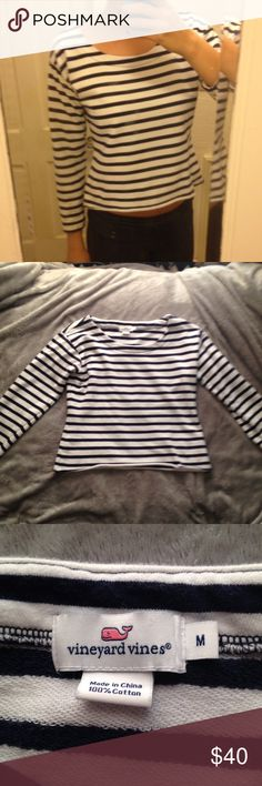Vineyard Vines crop sweater 100% Cotten navy and white striped 3/4 sleeve crop sweater Vineyard Vines Tops Crop Tops