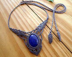 Lapis lazuli macrame necklace, macrame jewelry, hippie necklace, lapis lazuli jewelry, micro macrame, gemstone necklace, macrame choker