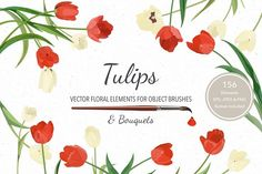 Vector object brushes. Tulips. by Peolla on @creativemarket