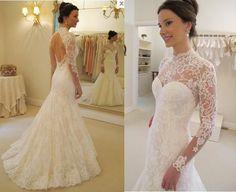 Vintage Lace Long Sleeve Wedding Dress Sexy Backless Bridal Dress Size 4 6 8 10 #sunvary #Sheath #Formal