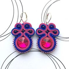 Hot Pink Earrings Long Earrings Modern Earrings Blue And