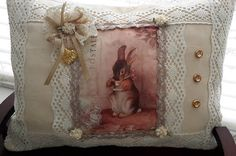 Shabby Chic Cottage Chic Accent Pillow Rabbit Bunny at Tea