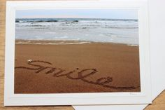 Smile Beach Writing Photo Card by Wonderlustcompany on Etsy