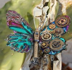 Steampunk Butterfly for Jewelry, Decor, Cosplay - Blue and Magenta Wings, Gears, Pen Nib Body- Fantasy Paper Butterfly with metal finish