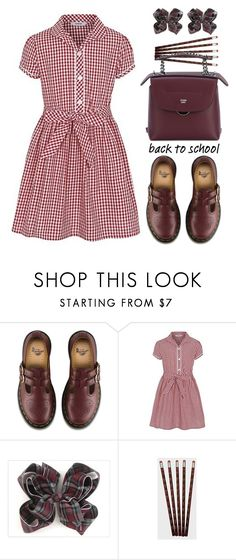 """""""George Girls School Gingham Dress"""" by thestyleartisan ❤ liked on Polyvore featuring Dr. Martens, George and Fendi"""