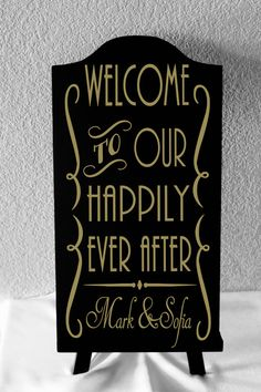 """20"""" Tall Personalized Wedding Sign. Welcome To Our Happily Ever After,wedding sign, custom wedding, 1920's wedding, gatsby wedding, vintage"""