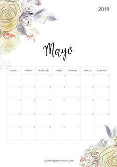 Calendario para imprimir 2019 - Mayo  #calendario #calendari #freebie #printable #flowers #nature #gratis #imprimir #mayo #may
