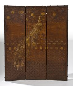 Manner of RENE LALIQUE. A Three-Panel Embossed and Gilt Leather Folding Room Screen, probably English, London, circa 1905