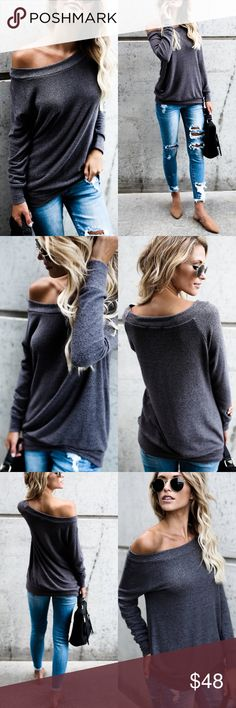 Softest Sweater Top Softest Sweater Top Available in Heather Grey, Charcoal & Burgundy Can be worn off the shoulder, one shoulder or on shoulders ~ Style 3 Different ways! No Trades Price Is Firm Glamvault Tops
