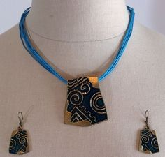 BLUE PENDANT NECKLACE With Matching EARRINGS Fashion Jewelry, No Stone, custom #Unbranded #Pendant