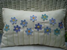 Items similar to Decorative Pillow - Turquoise and Blue Felt Flower Bouquet, Stitched Stems, Rectangular on Etsy