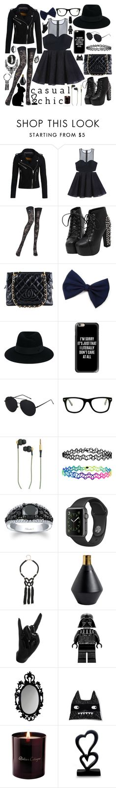 """""""BLACK"""" by rndmchick ❤ liked on Polyvore featuring Superdry, Bebe, Pierre Mantoux, Chanel, Maison Michel, Casetify, Muse, Kreafunk, Accessorize and Thelermont Hupton"""