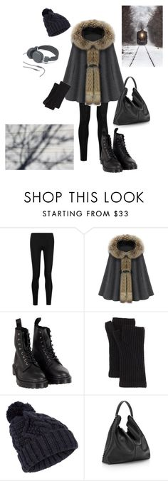 """winter forest dweller."" by baddisease ❤ liked on Polyvore featuring Donna Karan, Dr. Martens, rag & bone, Accessorize, Urbanears, Rebecca Minkoff, cape, winteroutfit, stregafashion and slouchyoutfit"