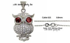 ".925 Solid Sterling Silver Ruby & Clear CZ Micro Pave OWL Pendant Necklace 18"" #Pendant"