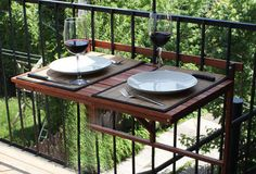 Balcony foldable table, exterior wood, deck table, outdoor furniture, Birthday Gift, Gift For Her, For Him, foldable table, Wedding, Gift by Singulierlampandcab on Etsy https://www.etsy.com/listing/235213301/balcony-foldable-table-exterior-wood