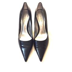 Black pumps Black leather pointed toe pumps by Nine West.    Shoe has 3 inch heel. Great condition! Nine West Shoes Heels