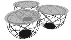 Large preview of 3D Model of 82320 Coffee Table Wire Grid Black (3/Set)