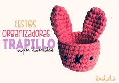 Cesta Organizadora de Trapillo - Patrón Gratis con Fototutorial en Español aquí: http://happymonkei.blogspot.com.es/2014/06/viernes-pap-cest-organizador.html