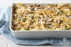 Enjoy our Creamy Tuna Noodle Casserole tonight. A velvety cream cheese sauce takes the place of canned soup for a tuna noodle casserole they won't forget. Best Casserole Dish, Tuna Noodle Casserole Recipe, Casserole Dishes, Casserole Recipes, Healthy Noodle Recipes, Fish Recipes, Yummy Recipes, Chicken Recipes, Healthy Food