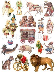 Vintage print .. Circus Animals