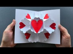 Pop Up Card: Heart ❤ Pop Up card Mother's Day – DIY Mother's day Gift – Katharina Schultheiss Diy Mothers Day Gifts, Fathers Day, Heart Pop Up Card, Mother's Day Diy, Pop Up Cards, Label Design, Valentines Day, Paper Crafts, Heart Origami