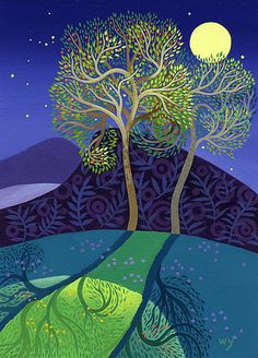 The Perfect Time by Wynn Yarrow. A giclee reproduction of an original acrylic painting, printed on archival quality paper. Signed and numbered on the bottom. Limited edition of Paper size is x Dimension refers to image size. Art And Illustration, Illustrations, Landscape Quilts, Landscape Art, Naive Art, Expo, Imagines, Canvas Pictures, Tree Art