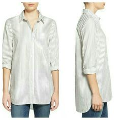 """WEEKEND SALE! Madewell """"Ex-boyfriend"""" Poplin Shirt Grey striped poplin shirt. 100% cotton.  Excellent condition with the exception of one tiny pinhole from a tag on the left shoulder. Could possibly be repaired. No other rips / stains / tears.   Size M (8-10) Madewell Tops"""