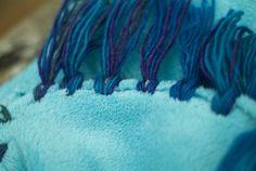 No sew fleece blanket with yarn fringe