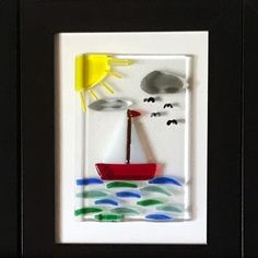 All at sea - fused glass picture