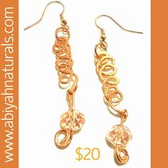 Newly listed at www.abiyahnaturals.com. 100% Handmade hammered solid copper and crystal earrings. All the jewelry listed in Natural Wear has been 100% handmade by our in house experienced artisan/fine...