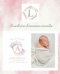 Baby Announcement Cards, Baby Cards, Birth, Little Girls, Monogram, Etsy, Design, Toddler Girls