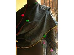 Handwoven scarf with Kantha embroidery