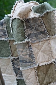 ABU, ACU Military Crib Rag Quilt - Can Be Customized, for baby or toddler, green, tan, camo, Air Force, Army, uniform, photo prop. $120.00, via Etsy.