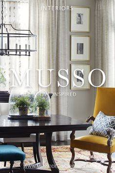 Interior design services offered by MUSSO are focused on a simple philosophy: Design elegant, comfortable, and timeless spaces that delight and inspire. Keywords: Dining room, breakfast room, yellow velvet, colorful dining chairs, teal bench seating, wooden table, english style furniture, carved wood chair, traditional design, iron light fixture, wrought iron pendent, atlanta interior designer, decorator in atlanta