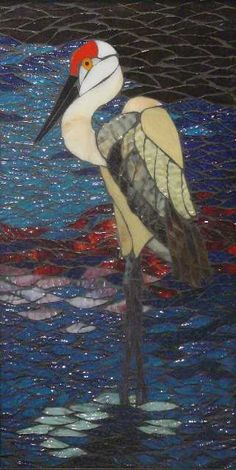 Sandhill Crane Fran Stoval :: Stained Glass, Pastel and Mosaic Artist Stained Glass Birds, Stained Glass Designs, Stained Glass Projects, Stained Glass Patterns, Stained Glass Windows, Fused Glass, Mosaic Animals, Mosaic Birds, Mosaic Art