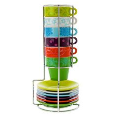 I pinned this 13 Piece Flower Patchwork Espresso Tower Set from the pt by Present Time event at Joss & Main!