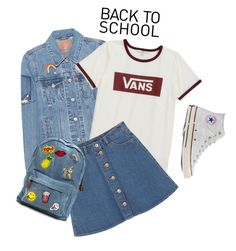 """Untitled #1902"" by katerina-rampota ❤ liked on Polyvore featuring Levi's, Vans, Monki, Converse, vintage, BackToSchool, school and 90s"