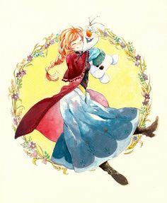 Tags: Anime, Snowman, Leaves, Twin Braids, Disney, Moyashi (Artist), Frozen (Disney)