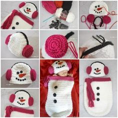 Crochet Snowman Ear Muff Hat and Cocoon  FREE Pattern