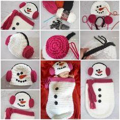Crochet Snowman Ear Muff Hat and Cocoon  FREE Pattern