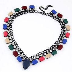 Reversible Multicolor Diamond Decorated Fake Collar Design Alloy Korean #Necklaces  www.asujewelry.com