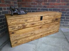 Rustic Storage Bench Seat Handcrafted from Reclaimed Wood with Hinged Lid and Hasp by TimberWolfFurniture on Etsy