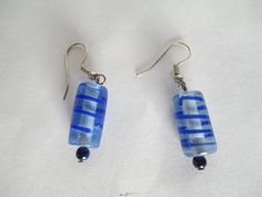 Cobalt & Clear Glass Cylinder Earrings by JunkArt22 on Etsy, $6.00