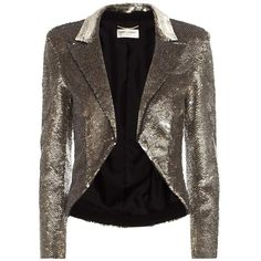 Saint Laurent Sequinned Jacket ($11,440) ❤ liked on Polyvore featuring outerwear, jackets, gold, sequined jackets, brown jacket, gold sequin jacket, gold jacket and yves saint laurent