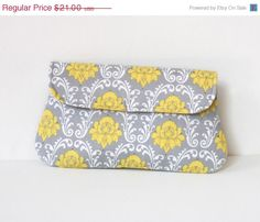 CYBER MONDAY SALE Damask clutch in yellow and light gray, cotton clutch, bridesmaid clutch, bridesmaid gift, gift for her #oyeta #gifts