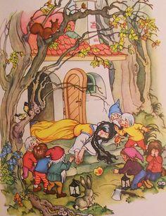 ... White and The 7 Dwarfs (Snow White Poisened) Full Colour Illustration