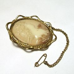 Vintage Cameo Brooch Plastic Portrait Gold Filigree Frame 1960s 70s Pale Cream Safety Chain