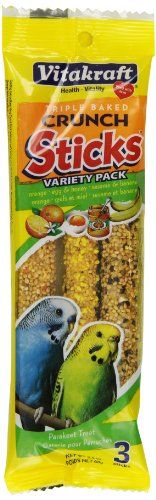 Vitakraft's Variety 3 Pack Glazed sticks for Parakeets are a high quality treat stick that your bird will find irresistible. Each pouch comes with Orange Egg and honey and Fruit treat sticks. Contain...