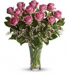 Make Me Blush - Dozen Long Stemmed Pink Roses in Metro New Orleans LA, Villere'sFlorist. http://www.villeresflorist.com/metairie-florist/birthday-flowers-84c.asp?topnav=TopNav #BirthdayFlowers #HappyBirthday